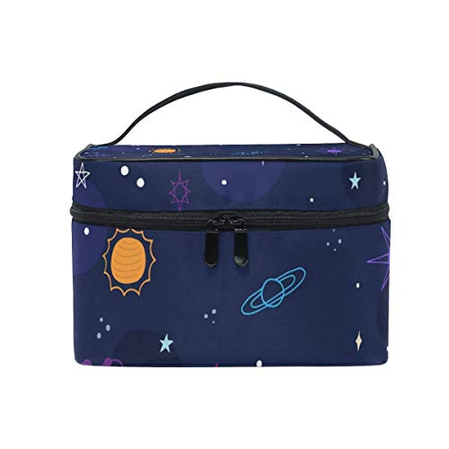 Space Stars Planets Cosmetic Bag Toiletry Travel Makeup Case Handle Pouch Multi-Function Organizer for Women