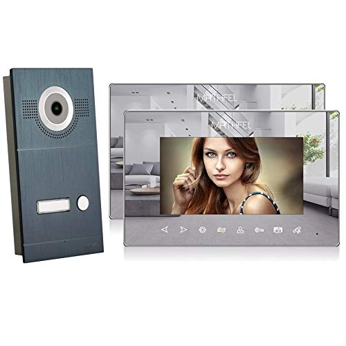 2 Draht Video Türsprechanlage Gegensprechanlage Fischaugenkamera 170 Grad, Anthrazit Außenstation, 2x7'' Monitor Spiegel
