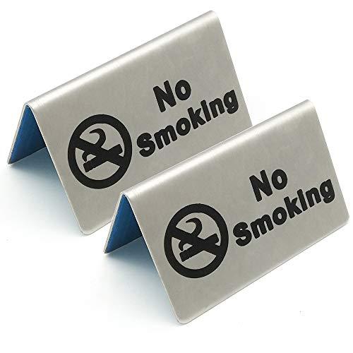2 Pcs Stainless Steel No Smoking Sign Tent Card Do Not Smoke Table Board Restaurant Hotel Non-Smoking Desk Logo Indicator