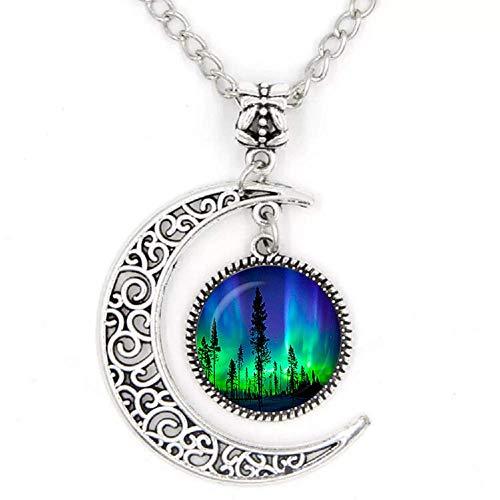 Grüne natürliche Nordlichter Foto Runde Halbmond Halskette Glas Cabochon Dome Schmuck Metall handgefertigt Anhänger Geschenk