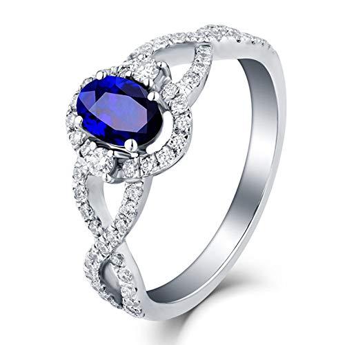 AueDsa Anello Blu Argento Anello Donna Diamante Oro Bianco 18K Infinito con Ovale Zaffiro Blu Bianco 1.72ct Taglia 21