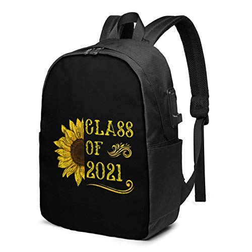 Lsjuee Class of 2021 Sunflower Travel Laptop Backpack with USB Charging Port for Women Men School College Students Backpack Fits 17 Inch Laptop