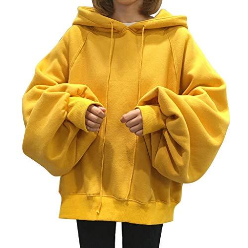 No brand Felpe Donne Felpa Oversize Pullover Stile Sciolto Solido con Cappuccio Lanterna Maniche Lunghe Calde Jumper Tops (Color : Yellow, Size : XL)