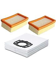 Facibom 7 st dammsugare dammpåsar och 1 st filter för Kärcher Mv4 Mv5 Mv6 Wd4 Wd5 Wd6 för Karcher Wd4000 till Wd5999