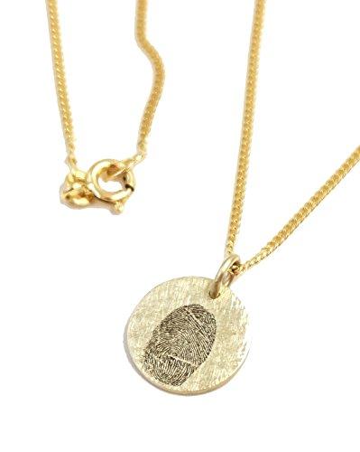 Echt Gold 333 Anhänger mit Lasergravur Fingerprint inkl. Goldkette