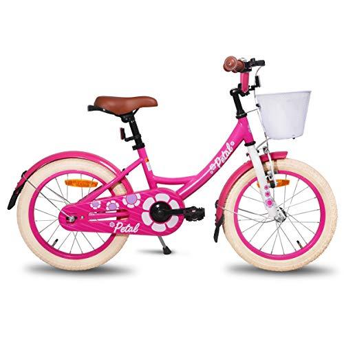 HILAND Petal 12 Zoll Kinderfahrrad für Mädchen 2-4 Jahre mit Korb, Stützräder, Handbremse und Rücktritt Rosa
