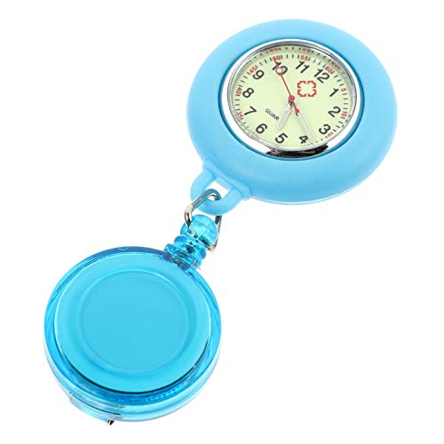 UKCOCO Reloj de Enfermera Retráctil Clip de Médico en La Solapa Colgante Relojes de Bolsillo para Enfermera Broche Médico Luminoso Reloj Azul Claro