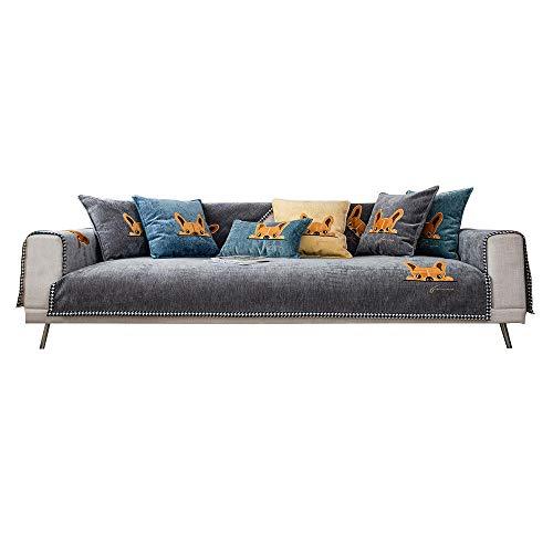 Homeen Sofá Modular Cubre Sofá Sofá Bordado de Cachorro Sofá Funda,Cubiertas de sofá Lindos para Sala de Estar,Chenilla Delgada,Ahorro de sofá para Tela/sofá de Cuero-Gris_110 * 180 cm