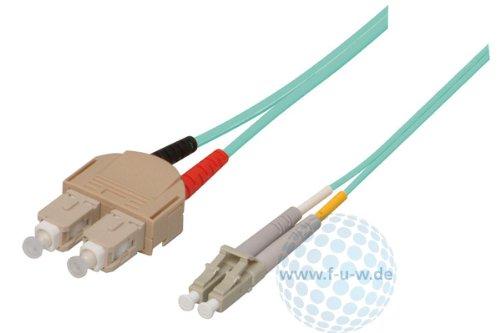 Tecline 39985600 OM3-Faser LWL-Kabel (50/125 µm, 0,5 m) türkis