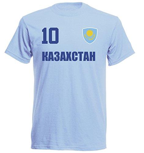 Kazakhstan World Cup 2018 T-Shirt Football Jersey Sky ALL-10 S M L XL XXL - Blue - Medium