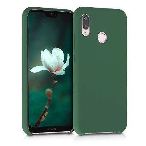 kwmobile Cover Compatibile con Huawei P20 Lite - Cover Custodia in Silicone TPU - Back Case Protezione Cellulare Verde Scuro