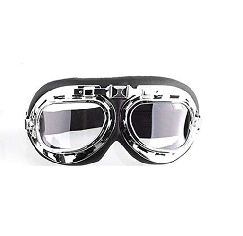 N\A Gafas de deporte al aire libre, estilo aviador, gafas de esquí, snowboard, patinaje, motos de nieve, anti-UV, gafas de sol retro volador piloto Jet casco gafas UV400 (color: transparente)