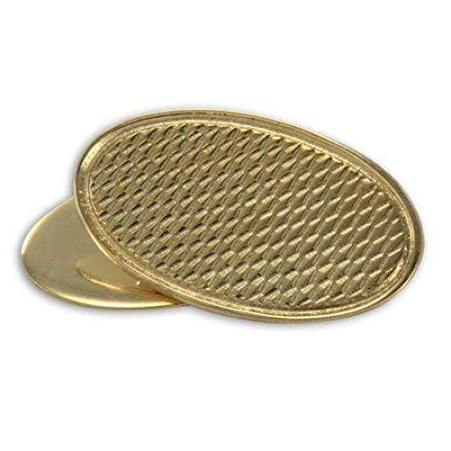 Boutons de Manchette Ovales à Motifs en Or Jaune 9 Carats - A Chaînette