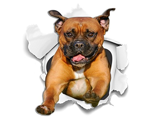 WinstonAndBear Perro 3D Stickers - 2 Pack - Super Staffie adhesivo para la pared, nevera Staffordshire Terrier
