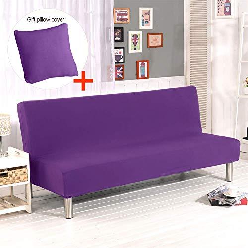 Hengweiuk Funda para sofá sin brazos, color sólido, 3 plazas, fundas para sofá y cama, modernas, elásticas, de poliéster, spandex, protector de futón, funda plegable para sofá o futón,