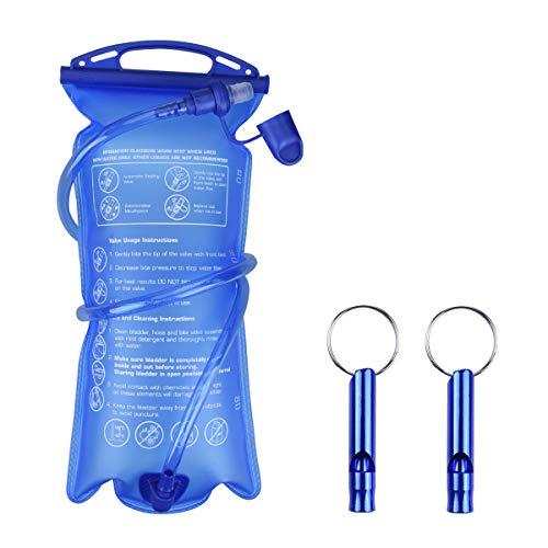 LegendTech 2L Poche à Eau Hydratation Poche à Eau Portable Vessie de Hydratation 2PCS Mini Sifflets en Métal pour Camping Randonnée en Plein Air Gourde Sport Bleu
