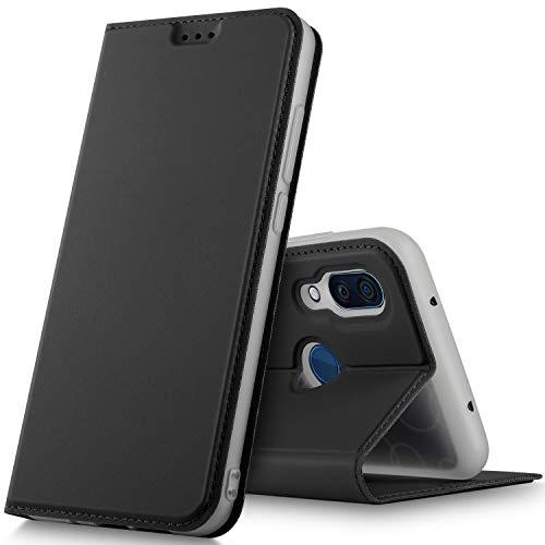 GeeMai ZTE Axon 9 Pro Hülle, Premium ZTE Axon 9 Pro Leder Hülle Flip Hülle Tasche Cover Hüllen mit Magnetverschluss [Standfunktion] Schutzhülle handyhüllen für ZTE Axon 9 Pro Smartphone, Schwarz