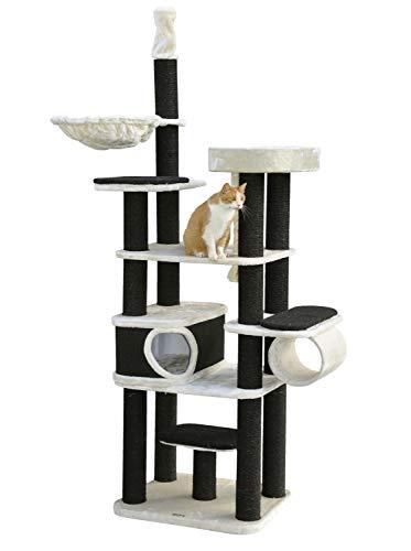 nanook Dolomit - Kratzbaum hoch für große Katzen, XL Katzenbaum deckenhoch (245 cm), Stabiler Kratzturm für schwere Katzen, Schwarze Kratzstämme