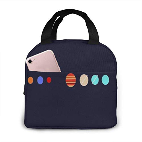 Cartoon Planet Lunch Bag,Reusable Insulated Lunch Bag Cooler Tote Box with Front Pocket Zipper Closure for Woman Man Work Picnic
