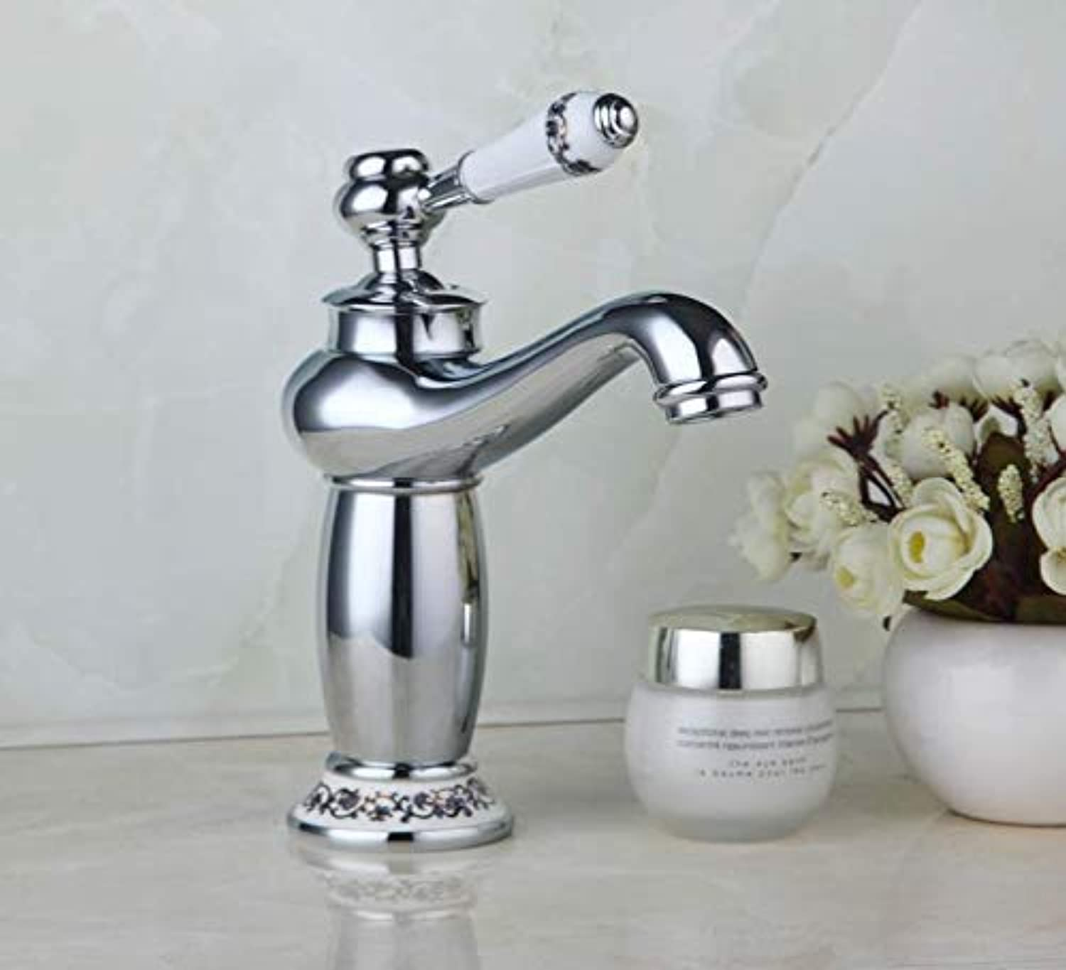 Oudan New Brand Chrome Polished Waterfall Deck Mounted Handed Bathroom Sink Basin Cranes, Mixers & Taps (color   -, Size   -)