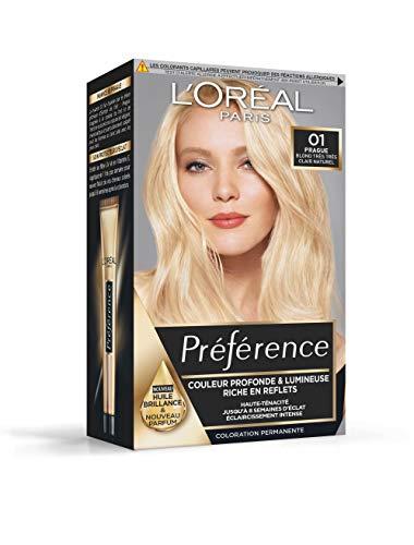 L'Oréal Paris Préférence Coloration Permanente Cheveux, Nuance : Prague (01), Blond Très Très Clair Naturel