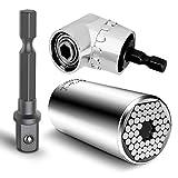 YiRong Multifunción 7mm-19mm Ratchet Zócalos universales Llave métrica Conjunto de adaptador de...