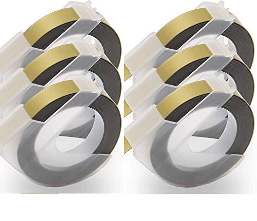 NEOUZA - Cinta adhesiva de repuesto para Dymo 3D (9 mm, para DYMO Organizer Xpress Omega Office Mate y Junior, color Blanco sobre oro
