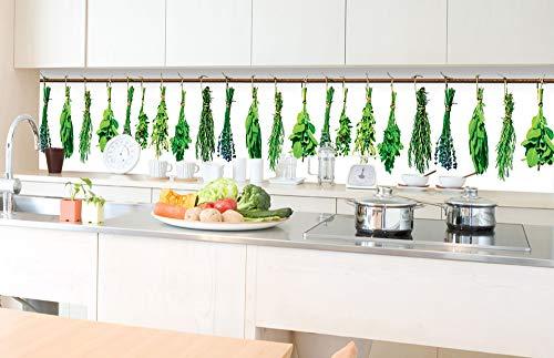 Zelfklevende keuken achterwand KRUIDEN 350 x 60 cm | Zelfklevende spatwand keukenfolie | Waterbestendige folie voor de keuken | PREMIUM KWALITEIT | Gemaakt in de EU