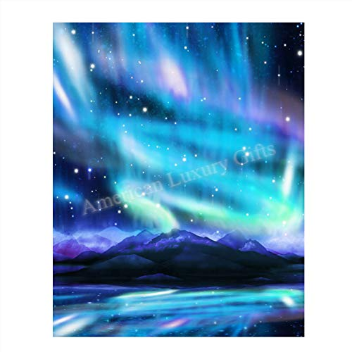 """Northern Lights & Stars Wall Art- Mountain View with Stars & Aurora Borealis- 8 x 10"""" Wall Art Prints- Ready to Frame. Home Décor, Office Decor & Kids Bedroom Wall Decor. Beautiful Natural Art Print."""