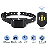 Zeonetak Dog Training Spray Bark Collar with Remote,2 Modes Citronella Control Stop Barking Collar for Dogs Large Medium Small, Adjustable Rechargeable Waterproof, 330ft Range(in Open air)
