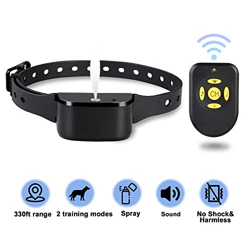 Zeonetak Dog Training Spray Bark Collar with Remote,2 Modes Citronella Control Stop Barking Collar for Dogs Large Medium Small, Adjustable Rechargeable Waterproof No Shock Harmless&Humane, 330ft Range