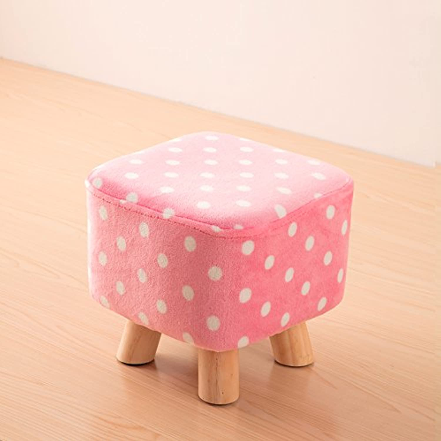 Dana Carrie Solid Wood on a Low stool for shoes is Fashionable to wear shoes That Creative Party Chair Fabrics stool Sofa Chair Coffee Table Bench Home, Pink White Point