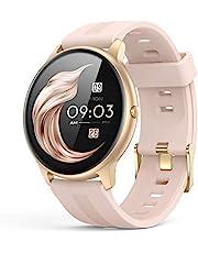 AGPTEK Smartwatch, 1,3 inch polshorloge met gepersonaliseerd scherm, muziekbediening, hartslag, stappenteller, calorieën, enz. IP68 waterdicht fitnesstracker horloge, voor iOS en Android, roze