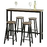 SoBuy OGT22-SCH Juegos de Muebles Altas 1 Comedor Mesa Alta y 4 Taburetes de Bar ES (OGT22-SCH)