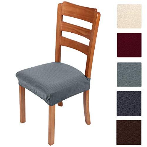 Smiry, copriseduta elastici per sedia per sala da pranzo e ufficio in tessuto jacquard, cuscini protettivi per sedia da pranzo, Grigio-1, Set of 4 ( 4PCS )