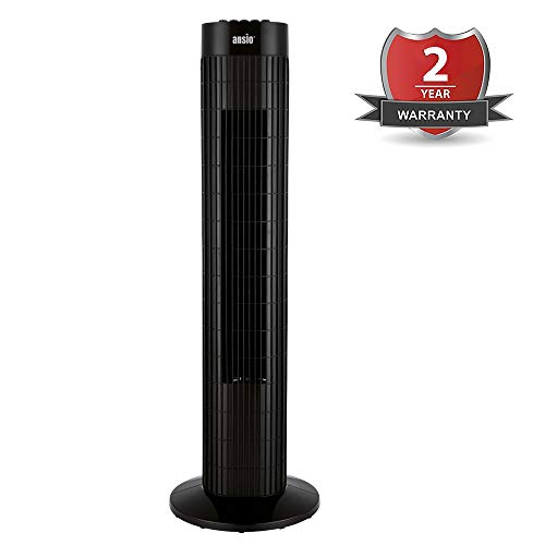 ANSIO Tower Fan 30-inch For Home and Office, 3 Hours Timer, 3 Speed Oscillating Fan - Black