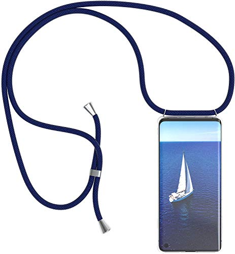 SIMao Funda con Cuerda para Xiaomi Mi 8 Lite Funda con Cadena para Teléfono Móvil con Correa Ajustable Transparente TPU Silicona Carcasa con Collar de Cordón Funda con Cordón de Colgar,Azul