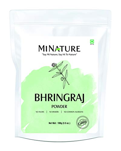 100% Pure Bhringraj Powder by mi nature (Eclipta Prostrata) | 100g (3.5 oz) | No additives | Supports Hair Growth | Best Herb for hair care | From India