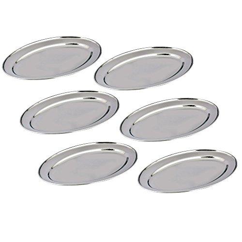Kosma – Set di 4 Vassoi ovali in acciaio inox, Vassoio, Piatto, Piatti da portata ovali, Acciaio inossidabile, set of 6 25cm