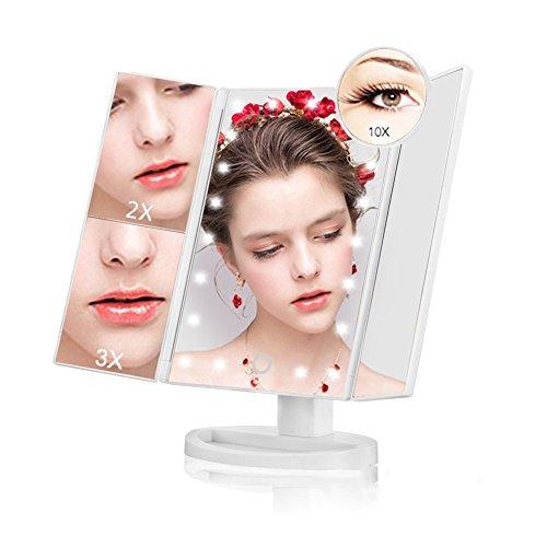 NaCot Miroir Maquillage Lumineux Écran Tactile LED Miroir Triple de Pliable Grossissement 1X/2X/3X10X Miroir Cosmétique 180° Ajustable avec Bouton