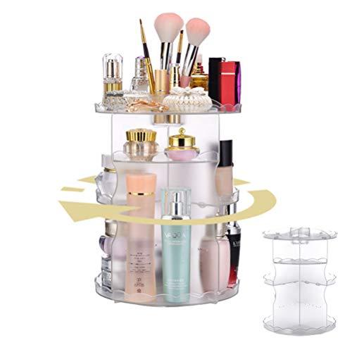 Organisateur de maquillage / 360 degrés acrylique multifonctions rotation organisateur de maquillage affichage de stockage cosmétique réglable/pour coiffeuse, chambre à coucher