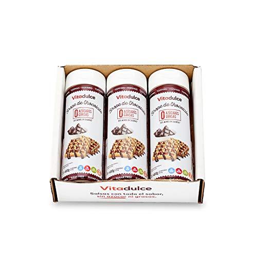 Schokoladensirup ohne Zucker, Schokoladentopping, kalorienarmer Sirup 400 gr. Pack 3 – Vitadulce.