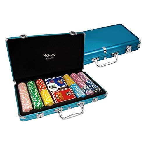 Modiano - Maletín con fichas (Aluminio, 300 fichas de 14 g), Color Azul [Importado de Italia]: Amazon.es: Juguetes y juegos