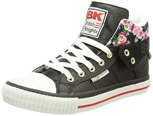 British Knights ROCO, Zapatillas Mujer, Diseño de Flores, Color Negro, 38 EU