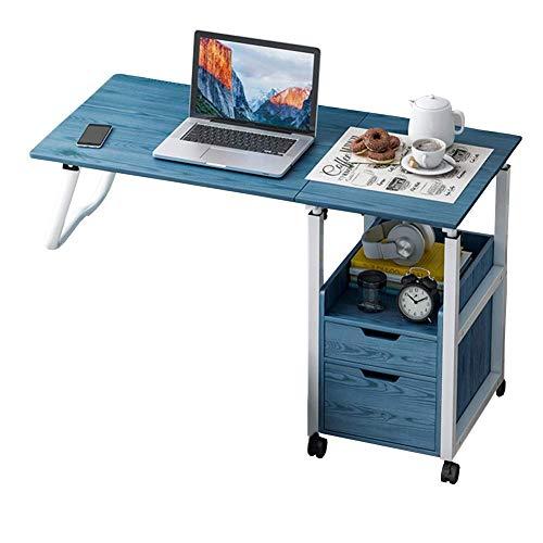 Mesa para colocar encima de la cama con ruedas bloqueables, mesa para computadora con carrito para computadora portátil de altura ajustable, ideal para uso en el hospital o en el hogar como mueble de