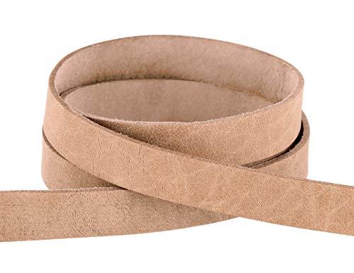 Auroris - Lederband flach Natur Breite wählbar 3/5/10/15/20 mm - Variante: Breite 20mm / Länge 1m