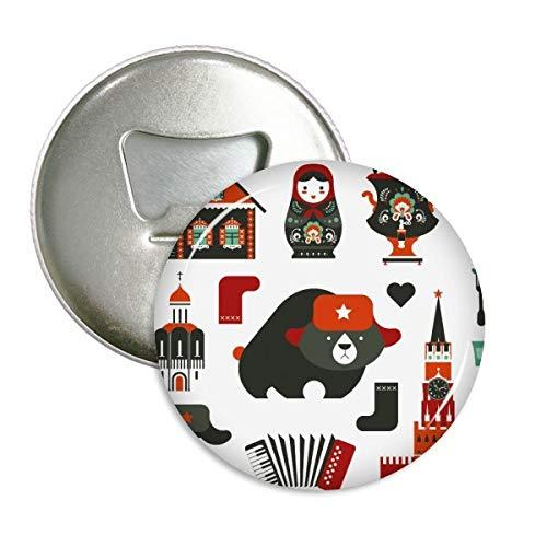 DIYthinker Beer Vodka Accordeon Pop Rusland Ronde Flesopener Koelkast Magneet Pins Badge Button Gift 3 stks