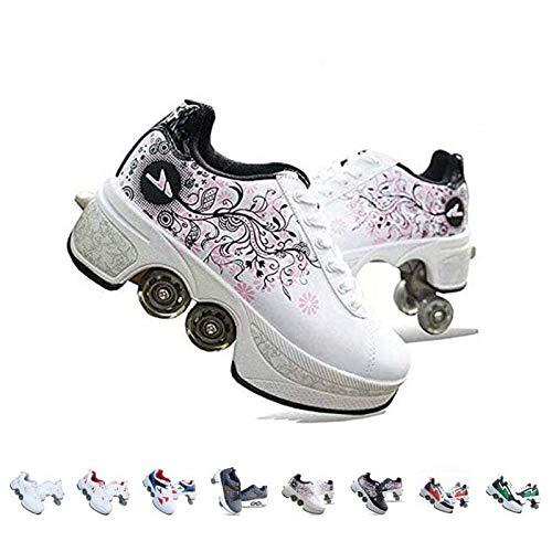 AGLOAT Rollschuhe Mädchen/Jungen,Schuhe Mit Rollen Skateboardschuhe Kinder,Quad Skate Rollerskates Für Damen,2 In 1 Inline Skates Herren,Unisex Sport Freizeit Laufschuhe Sneakers,Weiß2-36EU