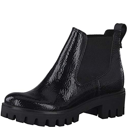 Tamaris Damen Stiefeletten Chelsea Boots Lackoptik schwarz 1-25424-25, Größe:39 EU, Farbe:Schwarz