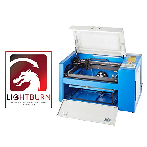 OMTech 50W CO2 Laser Engraver Cutter 12 x 20 Inch Work Table, Laser Engraving CNC Machine with Rotary Axis, Ruida Control RDWorks V8, USB Port, LightBurn Software for Windows Mac OS Linux